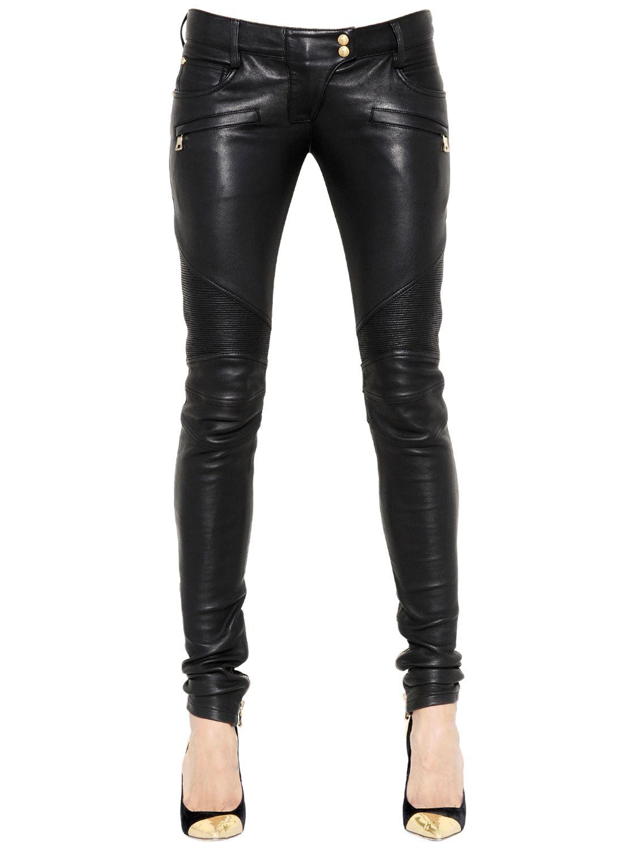 lyst  balmain nappa leather biker pants in black