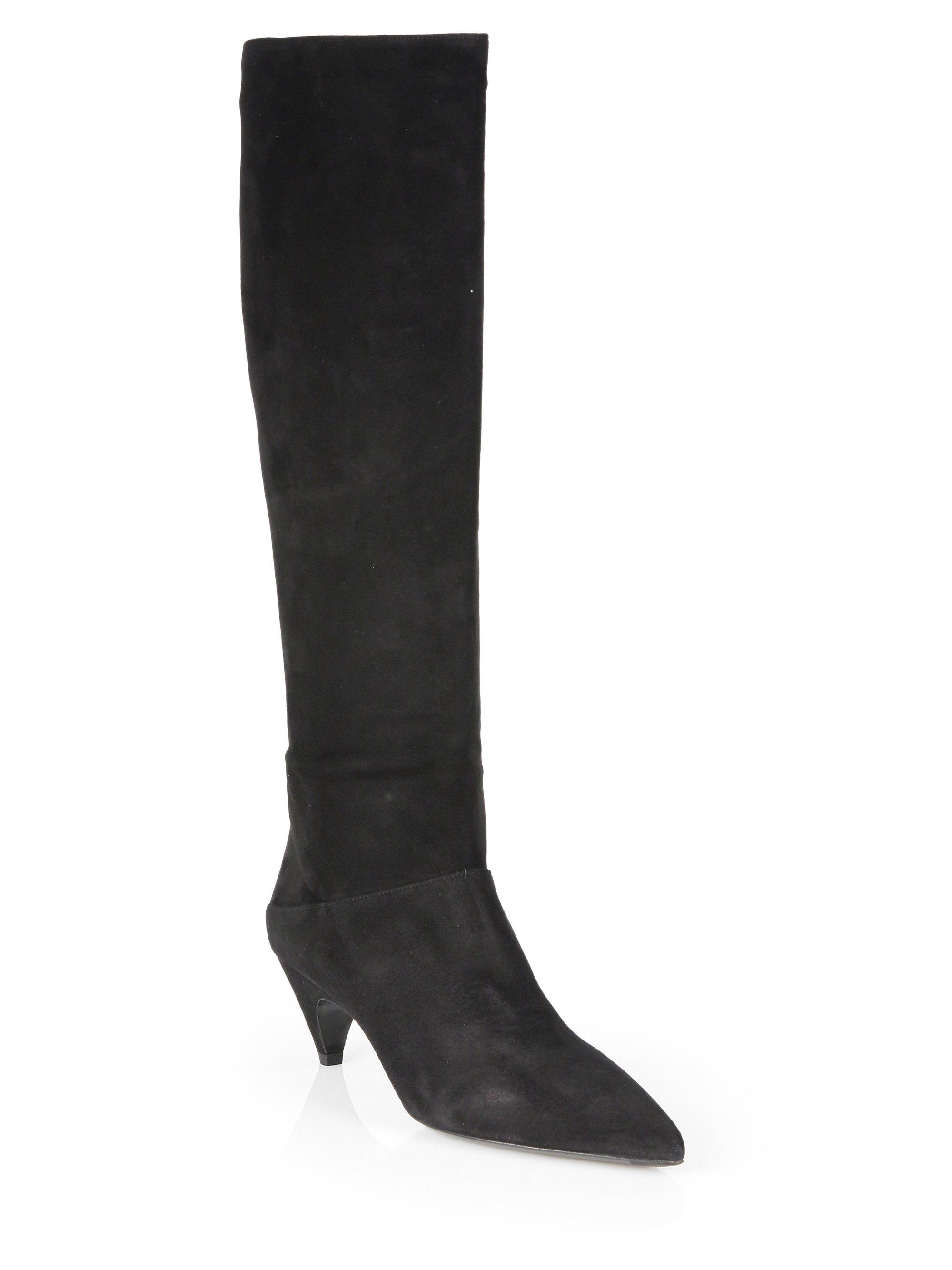 prada suede knee high boots in black lyst