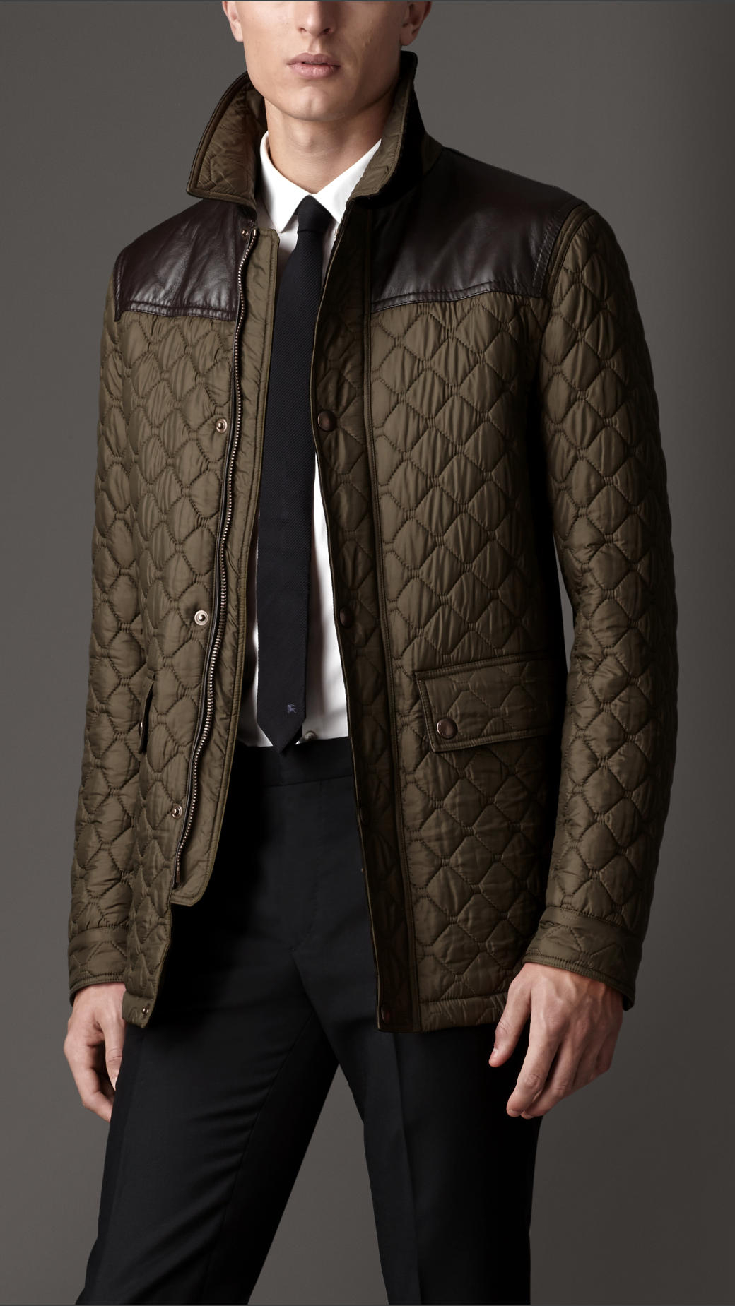 Lyst burberry leather detail quilted field jacket in for Quilted jackets for men