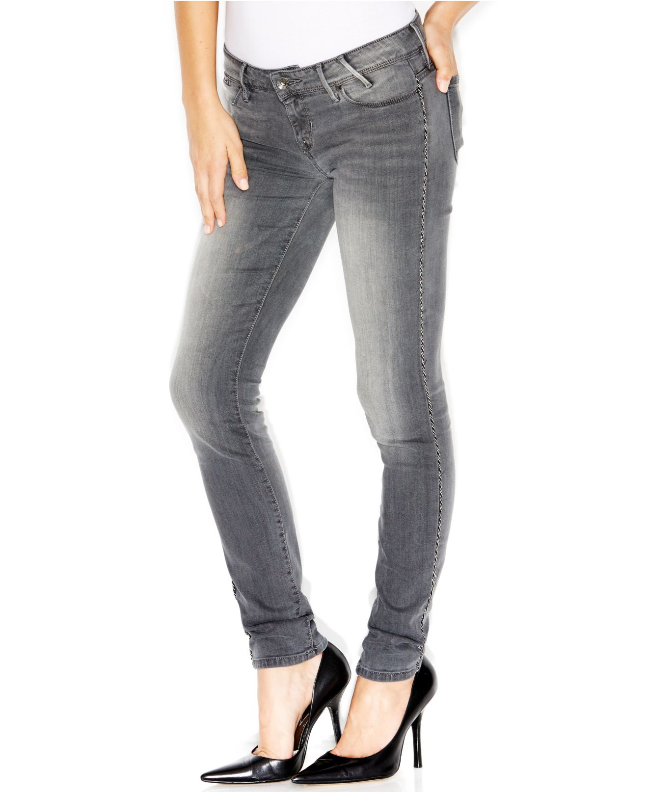 Low rise skinny grey jeans