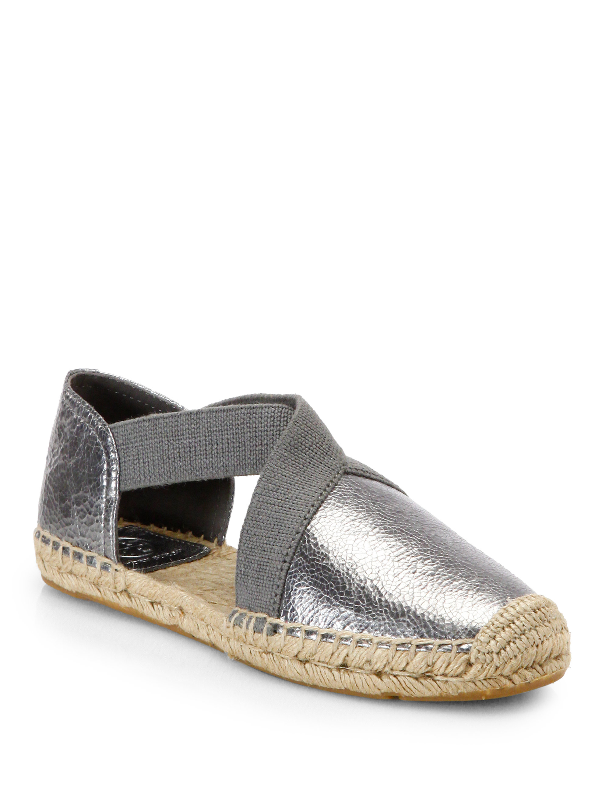 495d16365050 Lyst - Tory Burch Catalina Metallic Leather Espadrille Flats in Gray