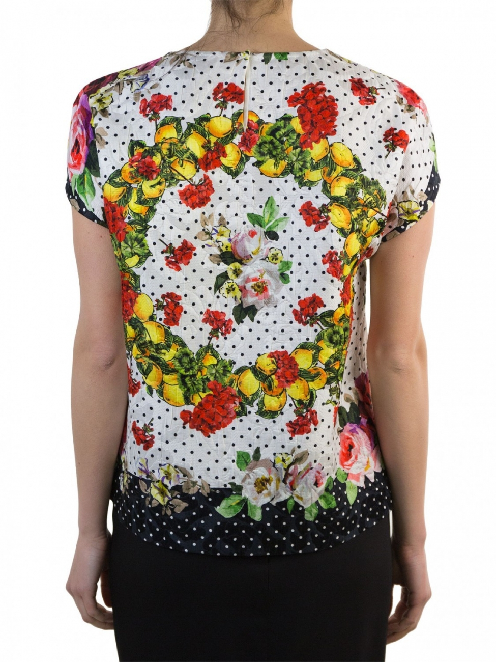 Dolce gabbana multi printed cotton and silk t shirt lyst for Cotton silk tee shirts
