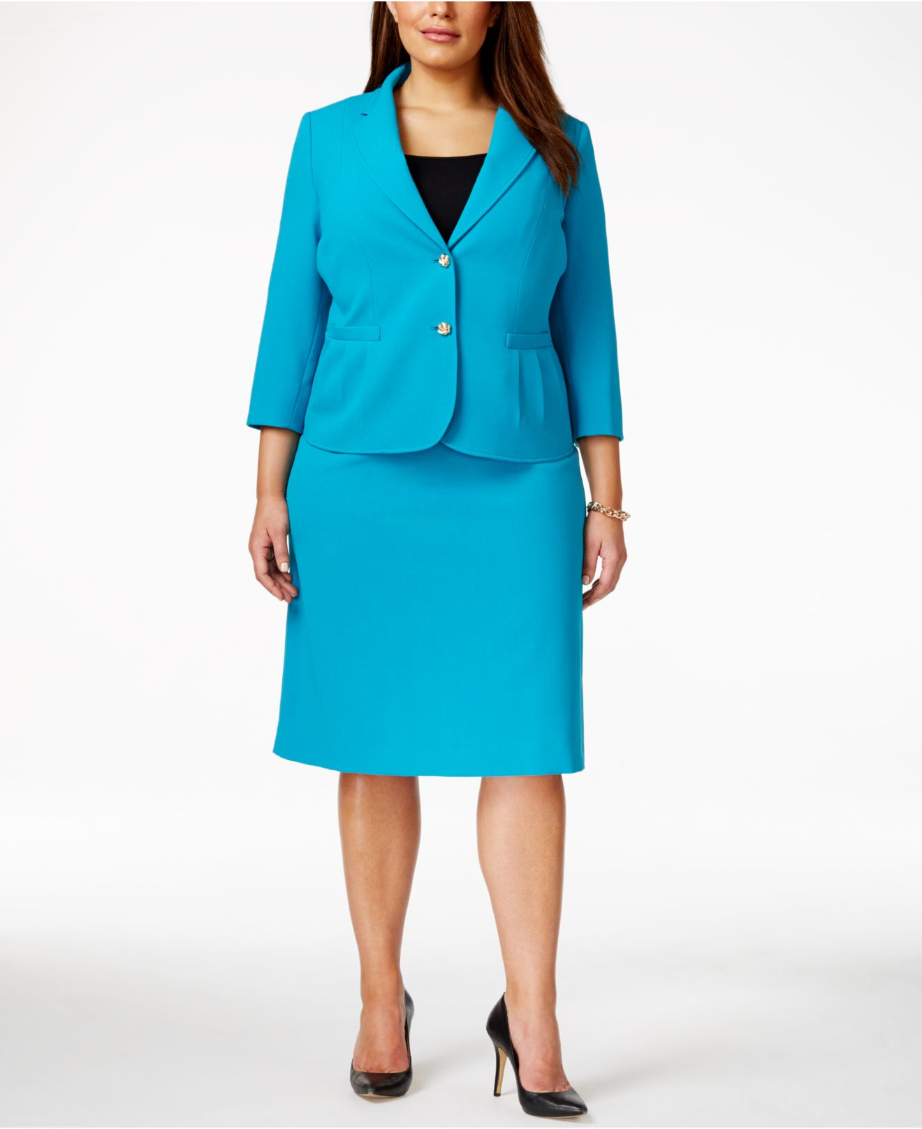 tahari plus size notched collar jacket skirt suit in blue