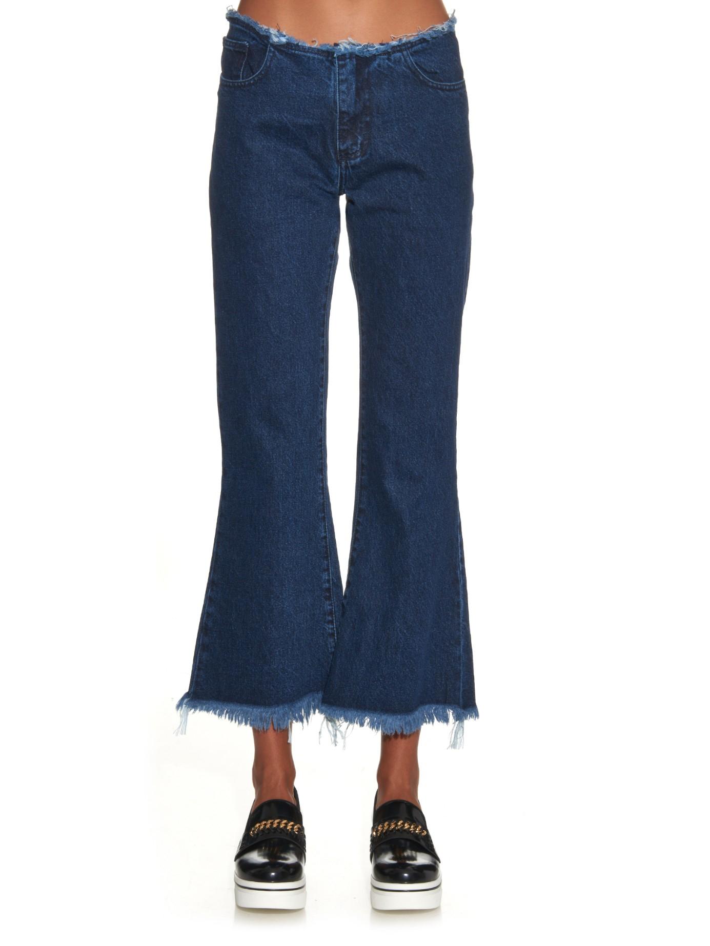 Marques'almeida Capri Frayed-edge Flared Jeans in Blue   Lyst