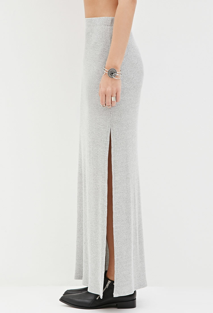 Forever 21 Ribbed Knit Maxi Skirt in Gray | Lyst
