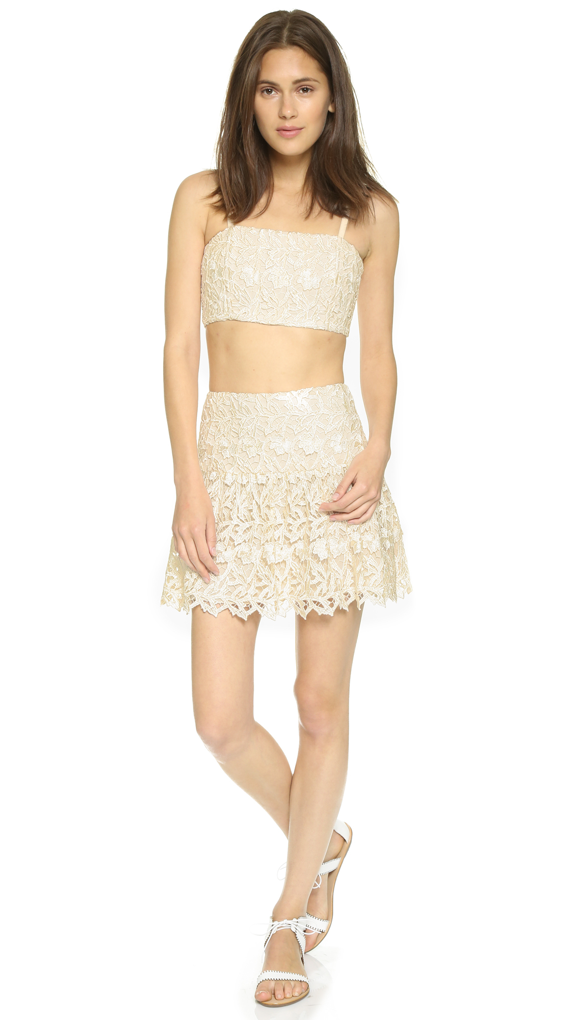 a26d8b96c8475 Alice + Olivia Marisol Lace Bustier Top - Cream natural in Natural ...