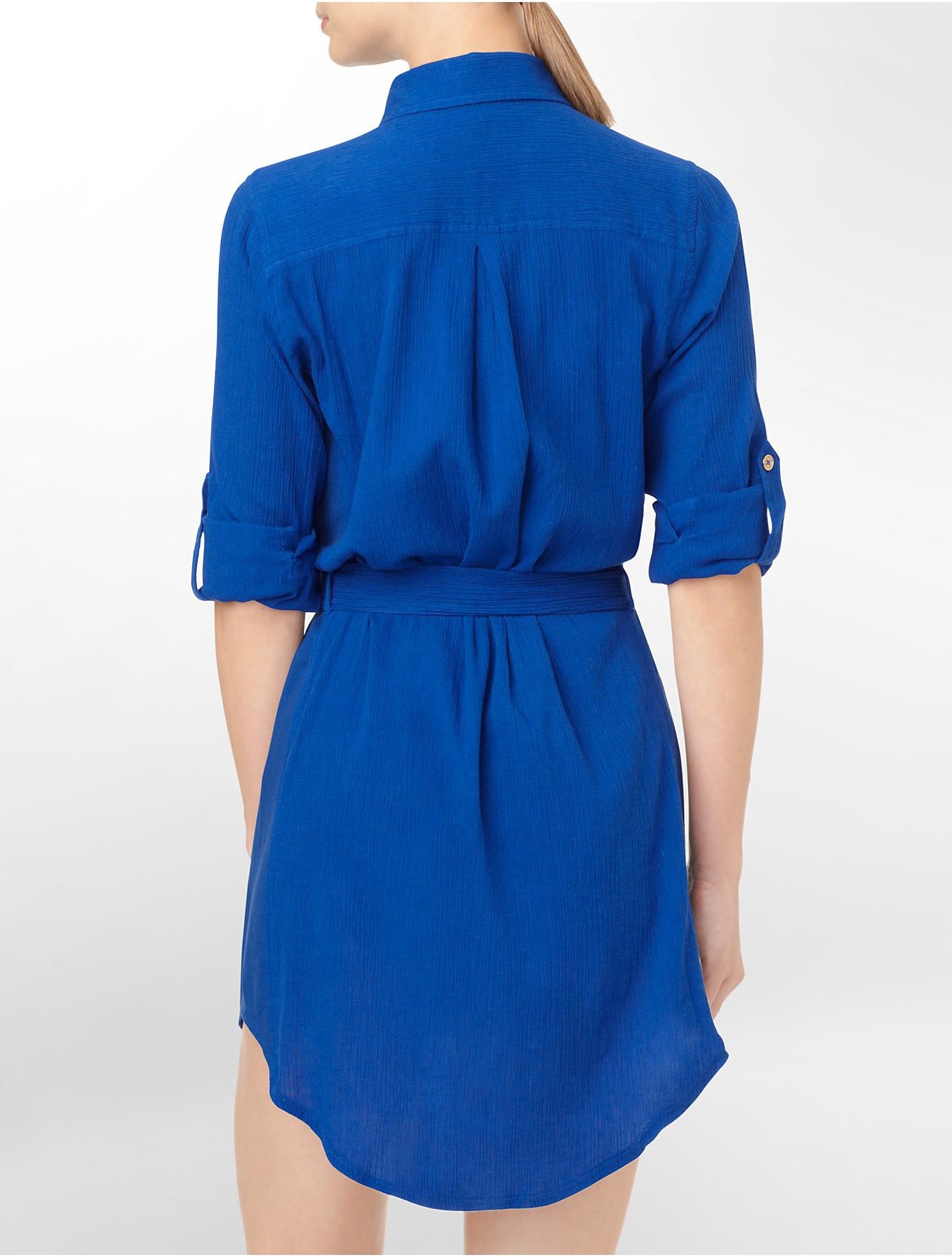 Calvin Klein Shirt Dress Roll Up Sleeve Cover Up In Blue