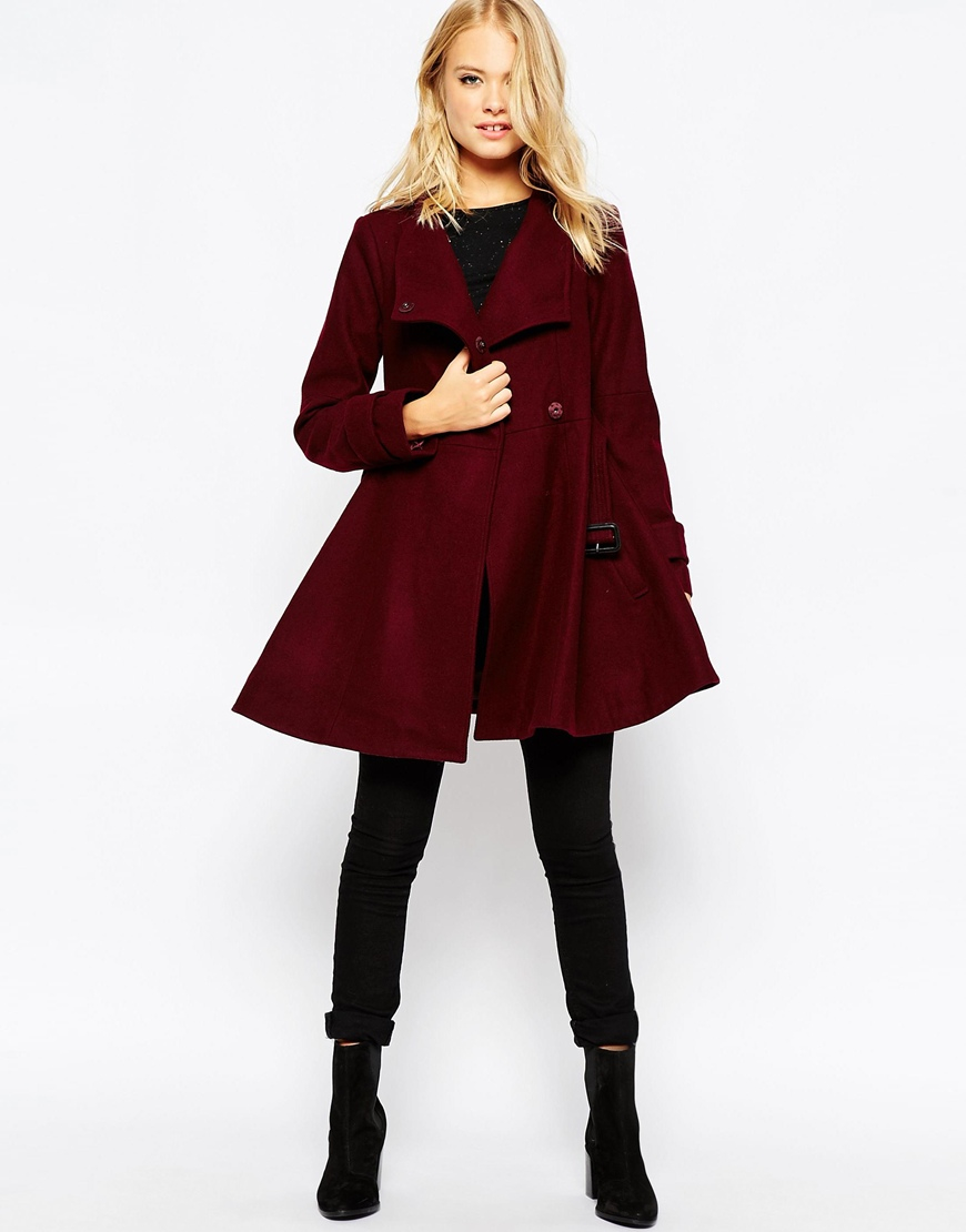 Asos Skater Coat With Funnel Neck in Purple | Lyst