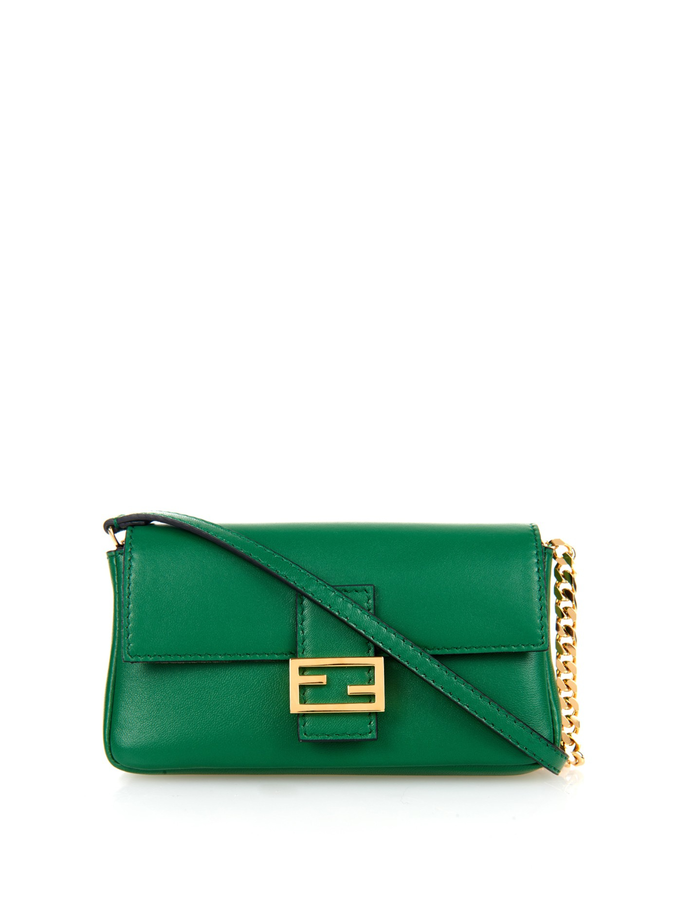 ... sale lyst fendi micro baguette leather cross body bag in green 92bb9  3bbc8 clearance fendi vitello ... de23ee0687b02
