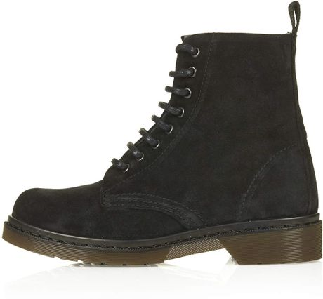 topshop admire suede lace up boots in black lyst