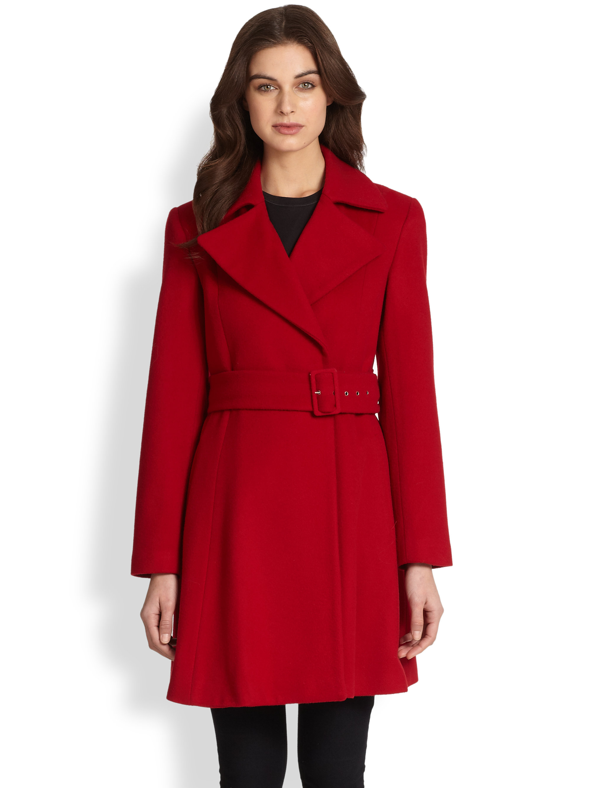 Sofia cashmere Wool Cashmere Belted Coat in Red