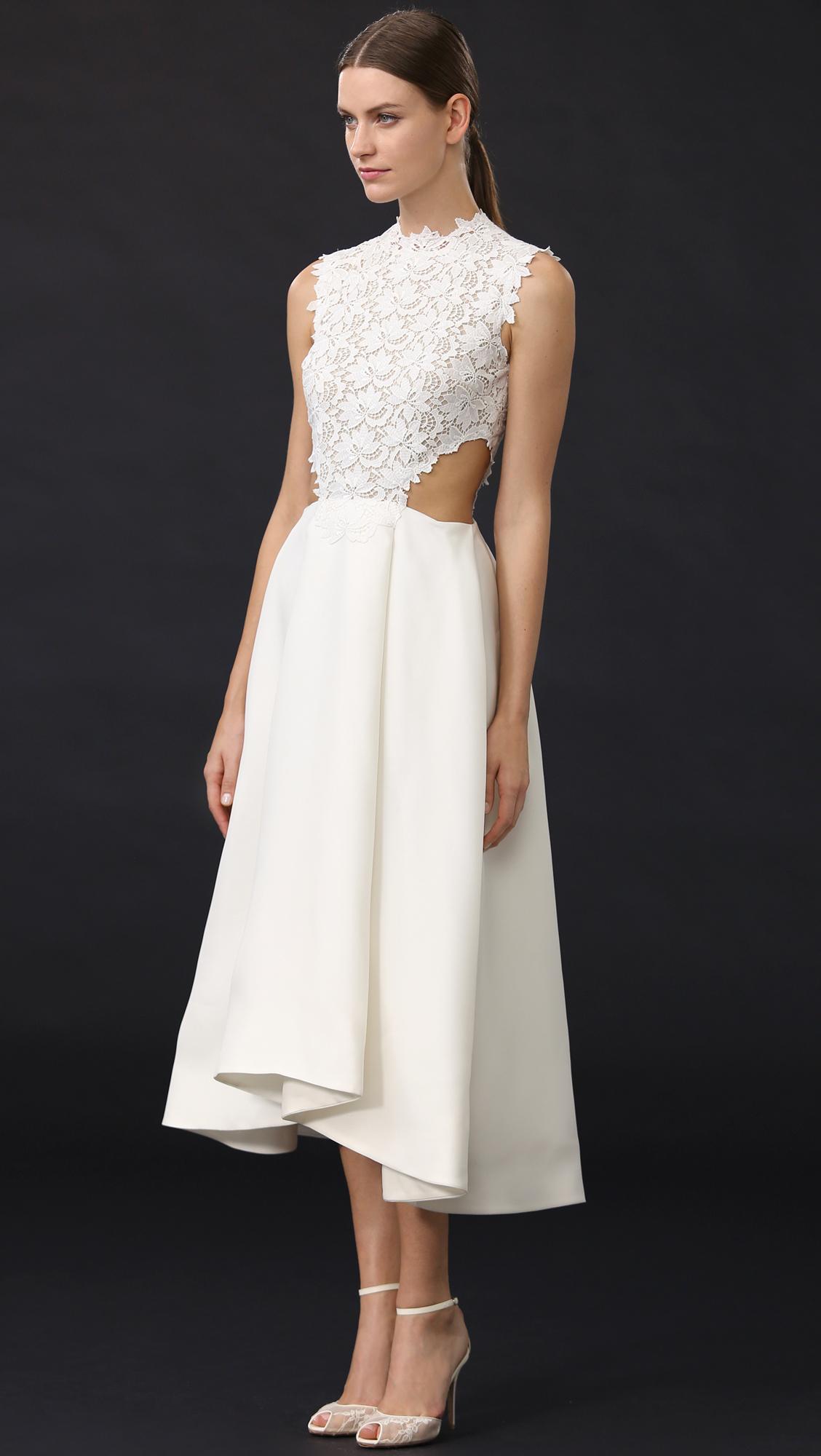 Monique Lhuillier Tea Length Dress In White Lyst