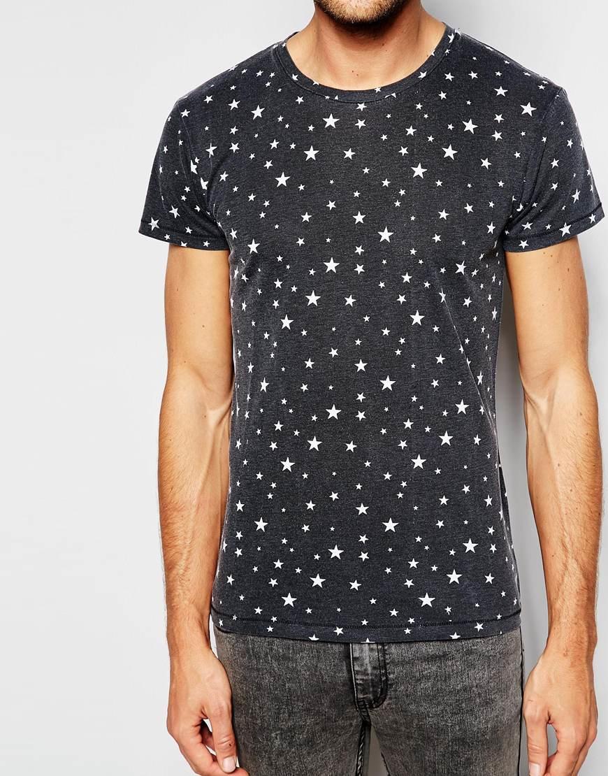 esprit burnout t shirt with all over stars print in black. Black Bedroom Furniture Sets. Home Design Ideas