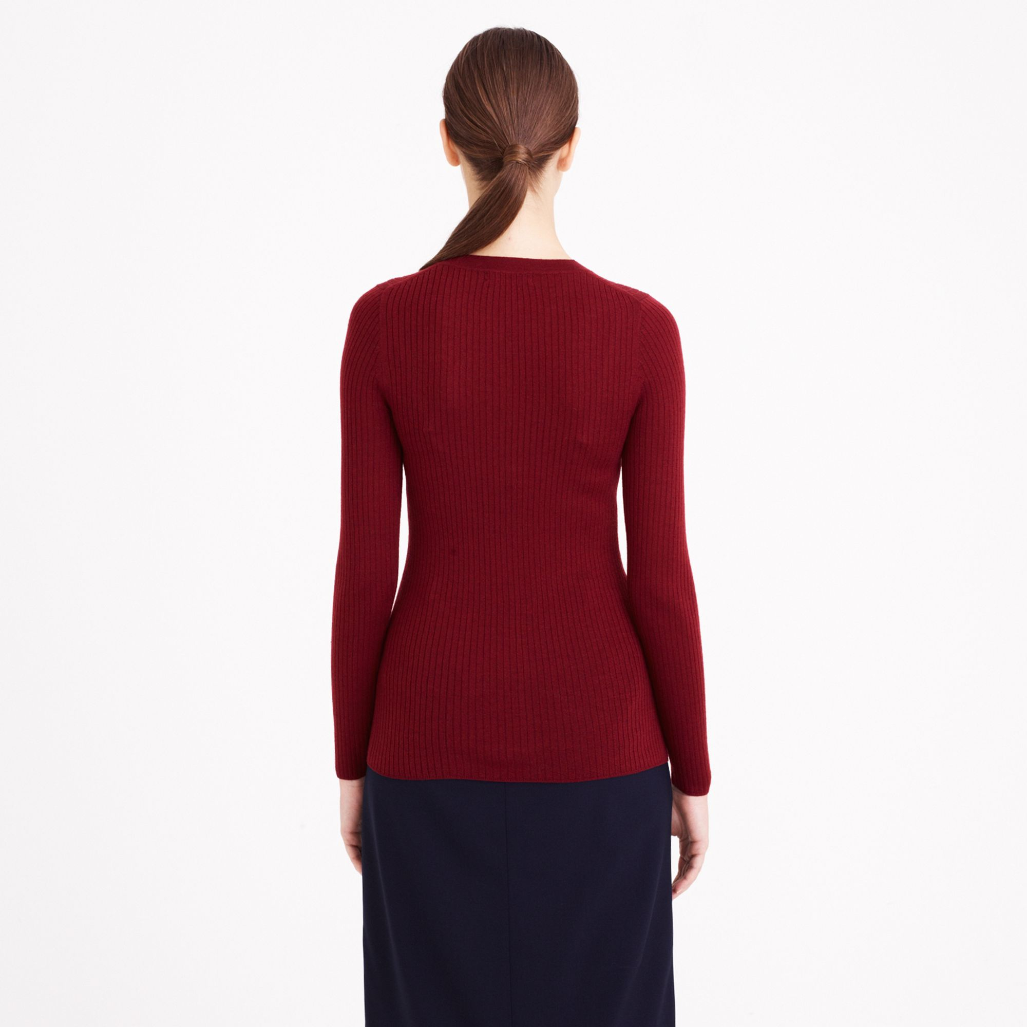 J.crew Long Merino Wool Ribbed Sweater in Red | Lyst