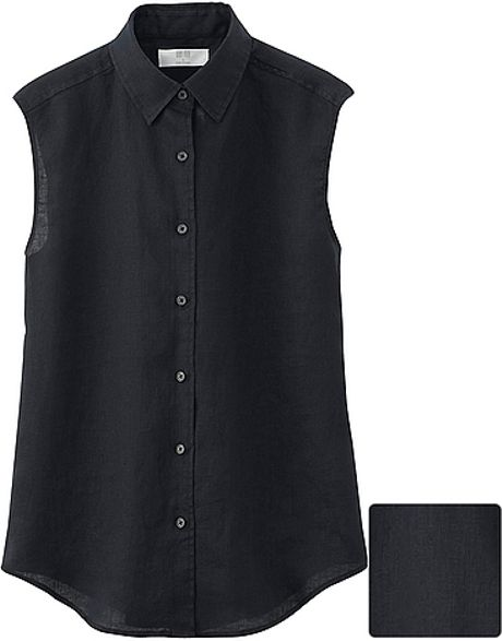 Uniqlo Premium Linen Sleeveless Shirt In Black Lyst