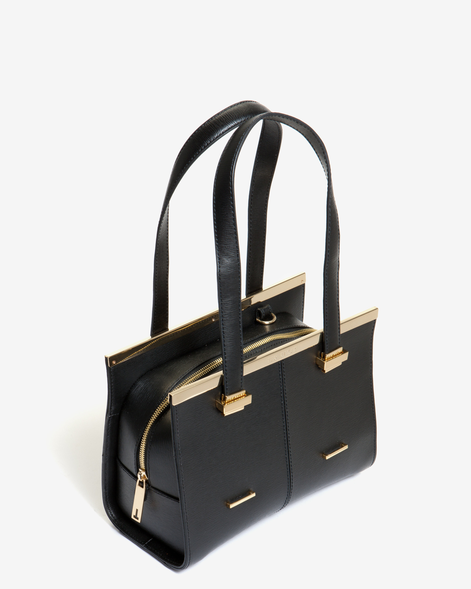 aecae6ea6019d Lyst - Ted Baker Small Crosshatch Leather Tote Bag in Black