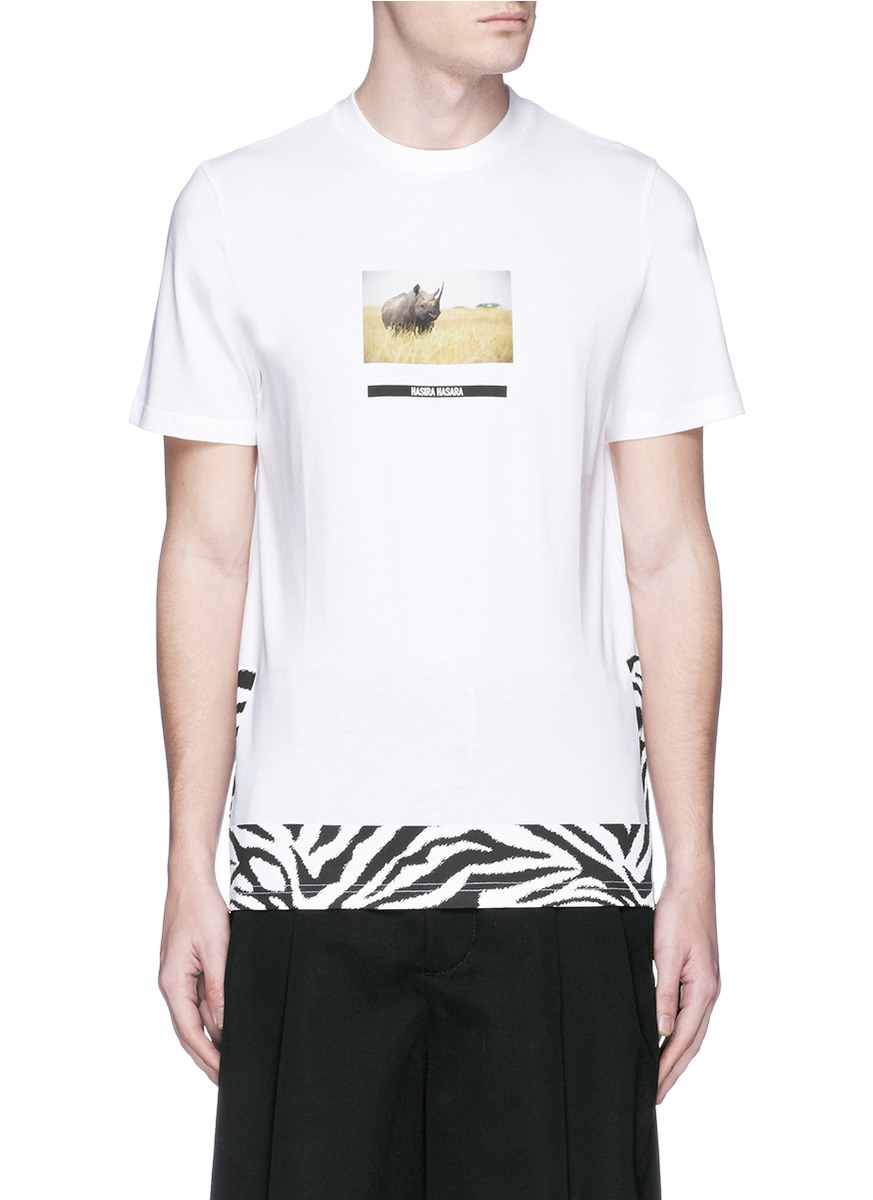 Lyst oamc rhino print cotton t shirt in white for men for Cotton white t shirt