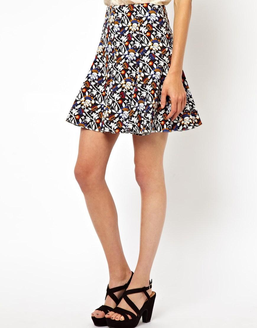 asos mini skirt in floral print in multicolor multi lyst