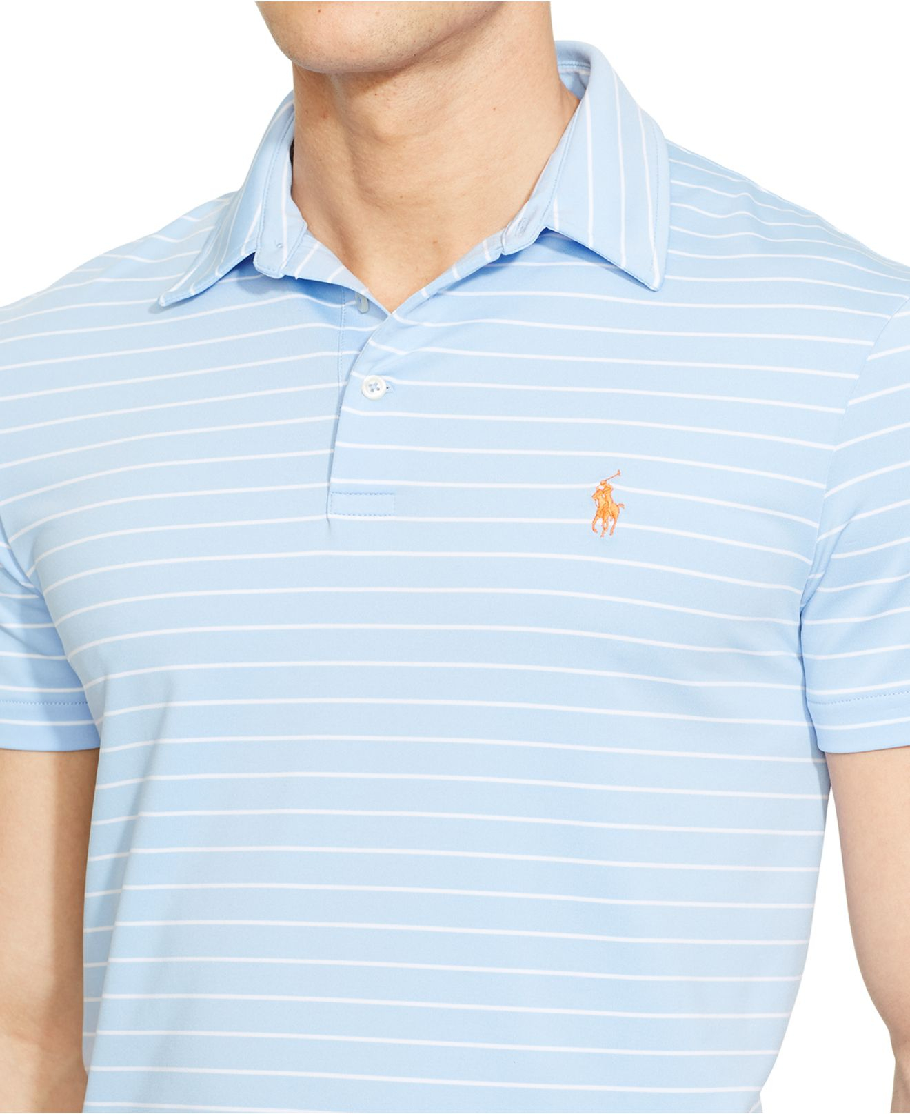 Polo Ralph Lauren Striped Performance Polo Shirt In Blue