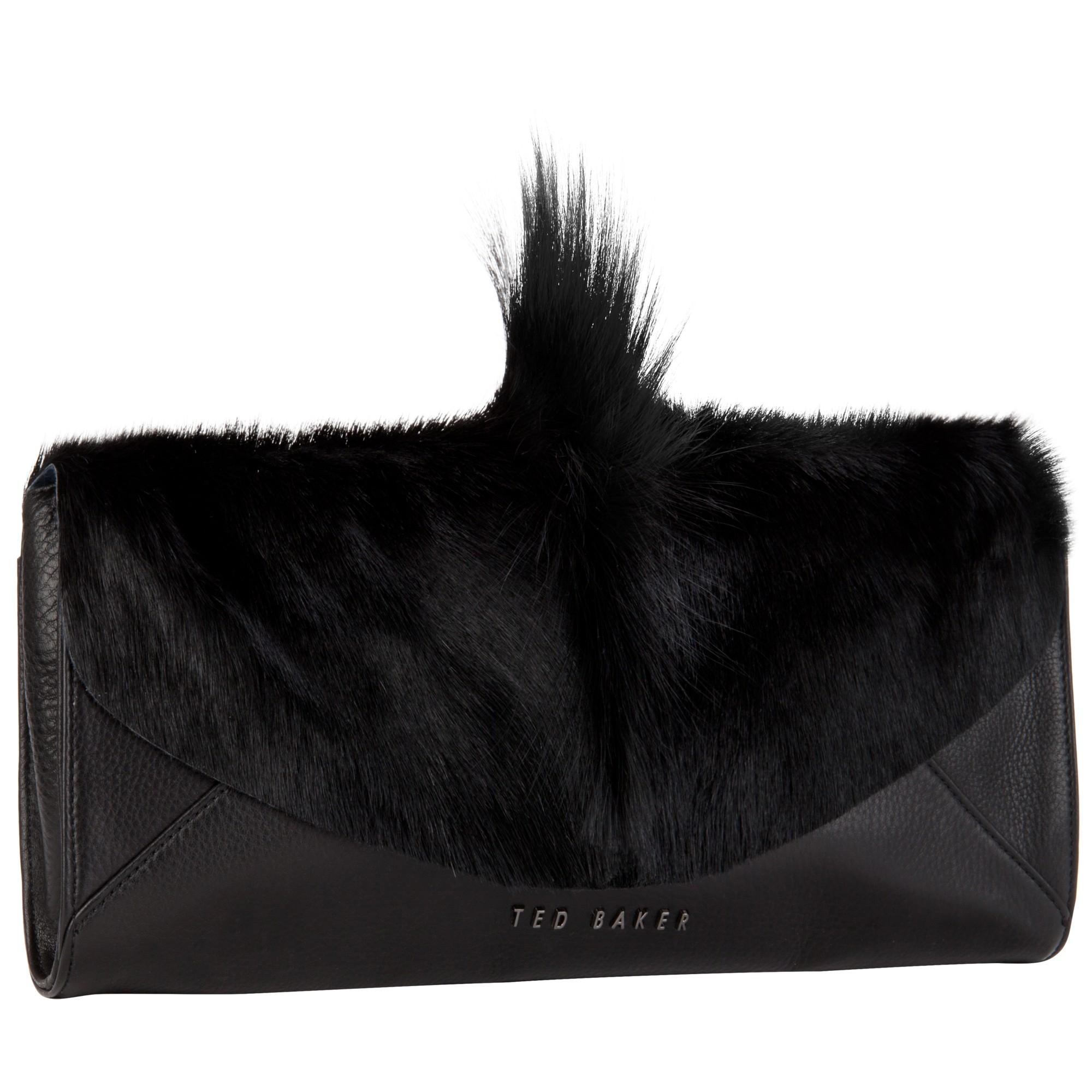 96d851014643b Ted Baker Moti Springbok Leather Clutch Bag in Black - Lyst
