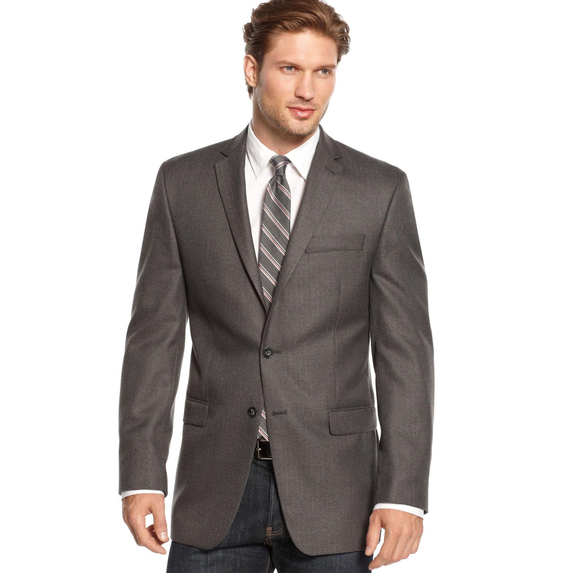calvin klein herringbone sport coat slim fit big and tall in gray for men grey lyst. Black Bedroom Furniture Sets. Home Design Ideas