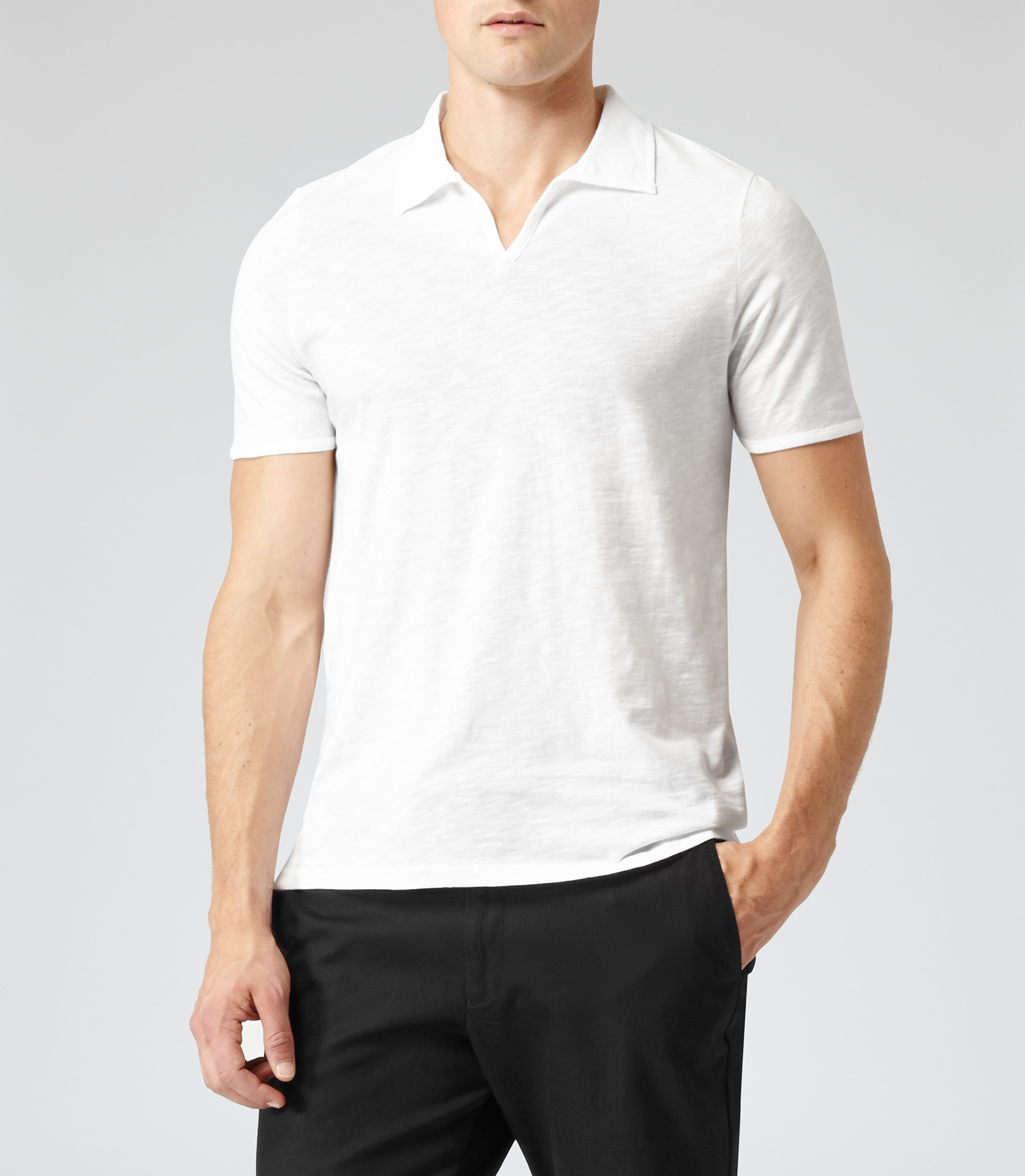 Lyst - Reiss Kingsley Open Collar Polo T-Shirt in White ...