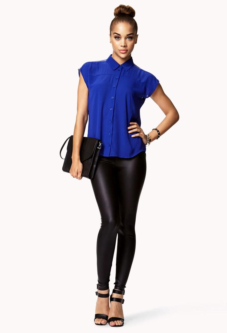 Lyst Forever 21 Zip Shoulder Georgette Shirt In Blue