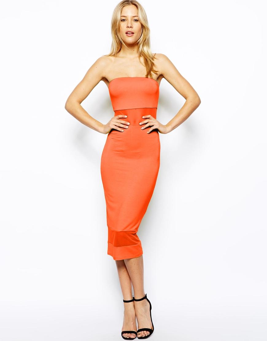 Orange Strapless Dress - Dress Xy