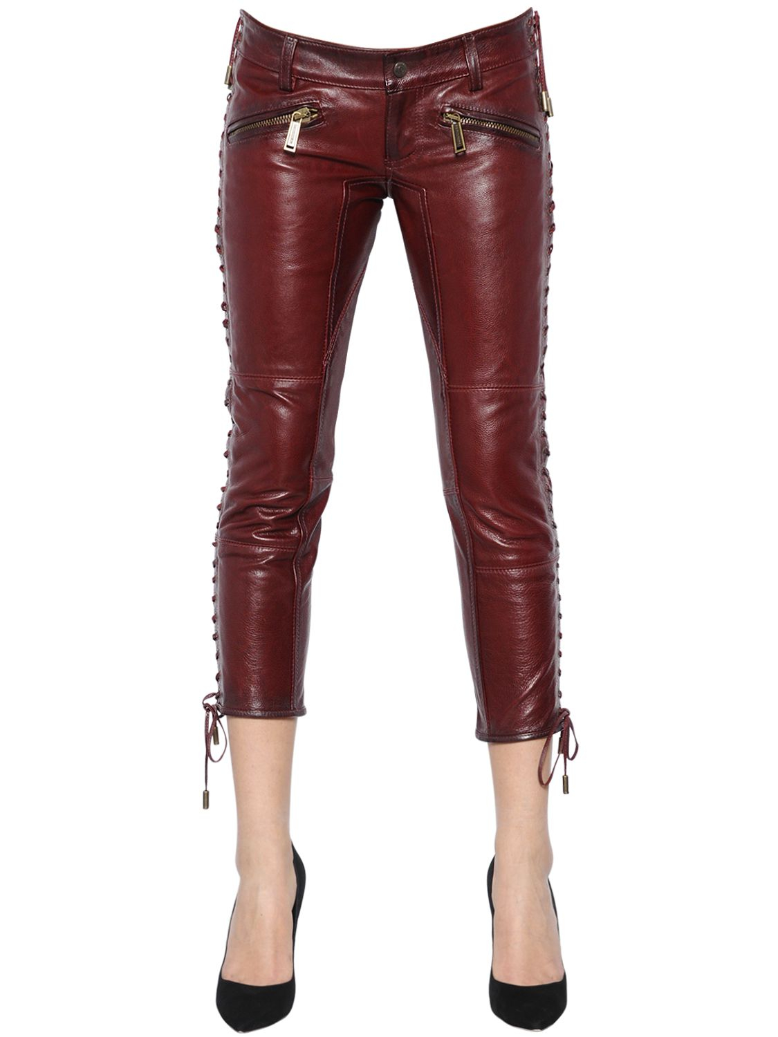 Lyst Dsquared 178 Lace Up Nappa Leather Pants In Purple