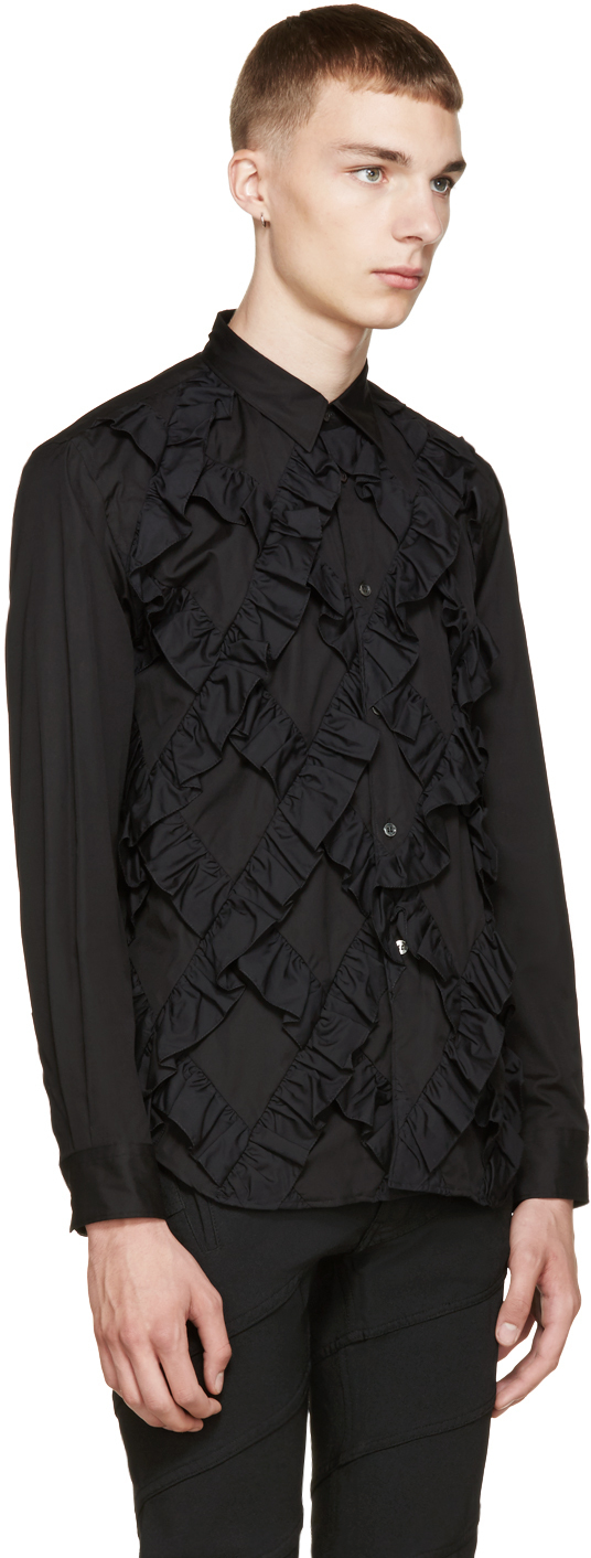 Comme des gar ons black classic ruffle shirt in black for for Frilly shirts for men