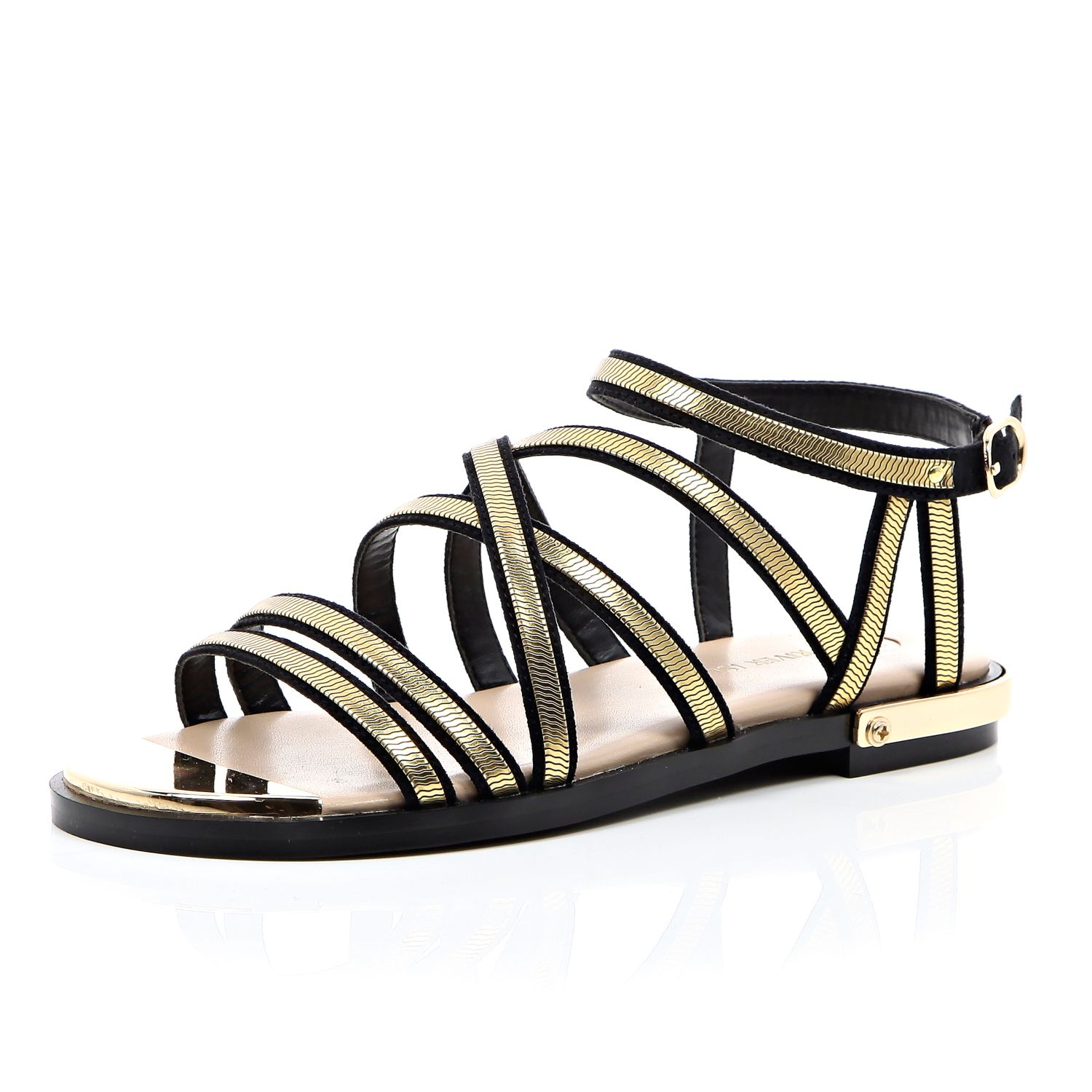 d163a6bc9913 River Island Black And Gold Strappy Gladiator Sandals in Metallic - Lyst