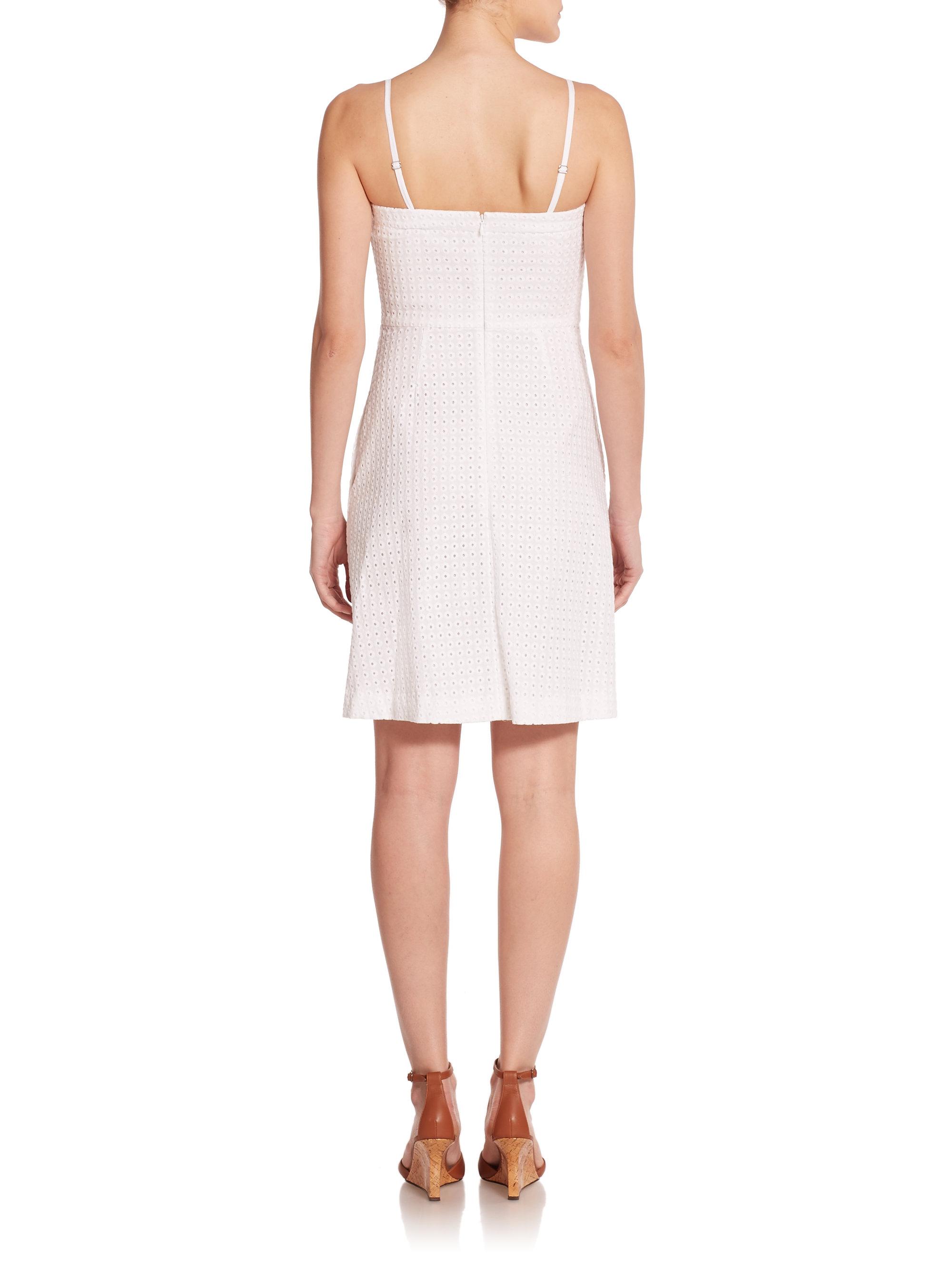 Lyst Theory Struno Eyelet Dress In White