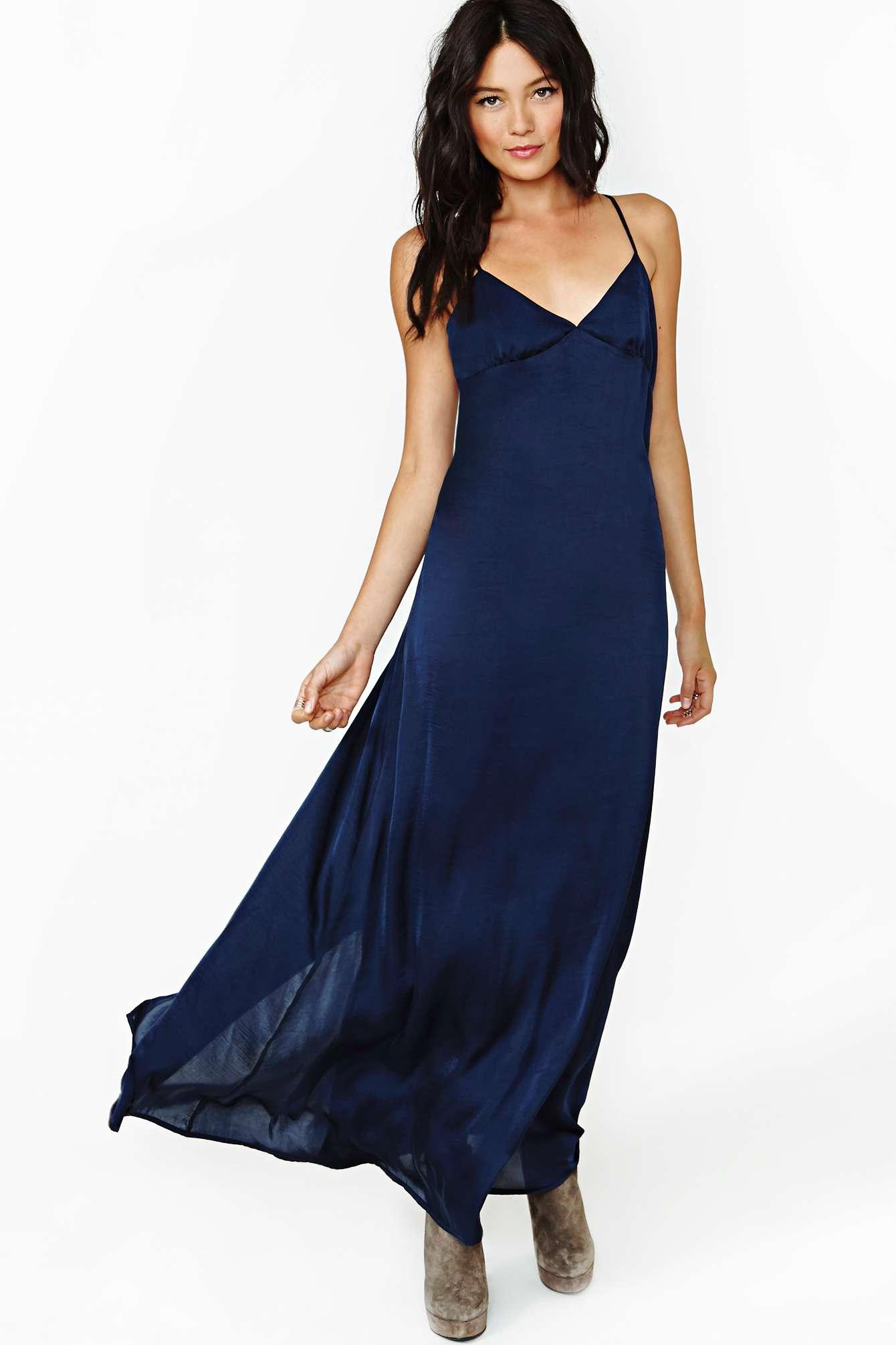 d0e14e52f3644 Nasty Gal Night Calls Slip Dress in Blue - Lyst