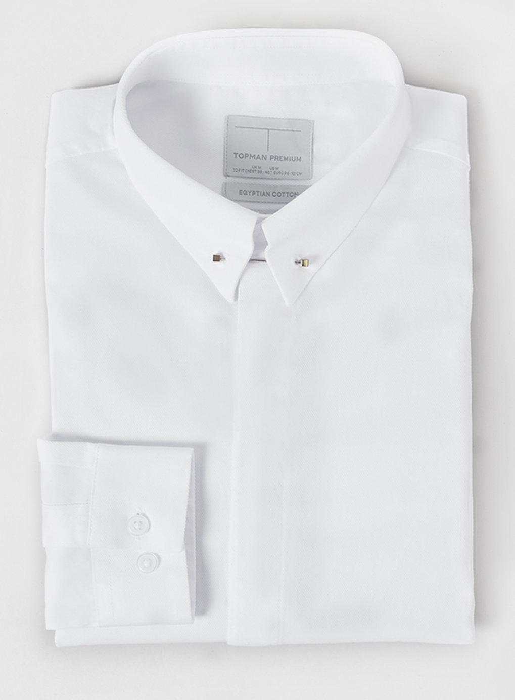 Topman premium long sleeve white pin collar smart folded for White shirt with collar pin