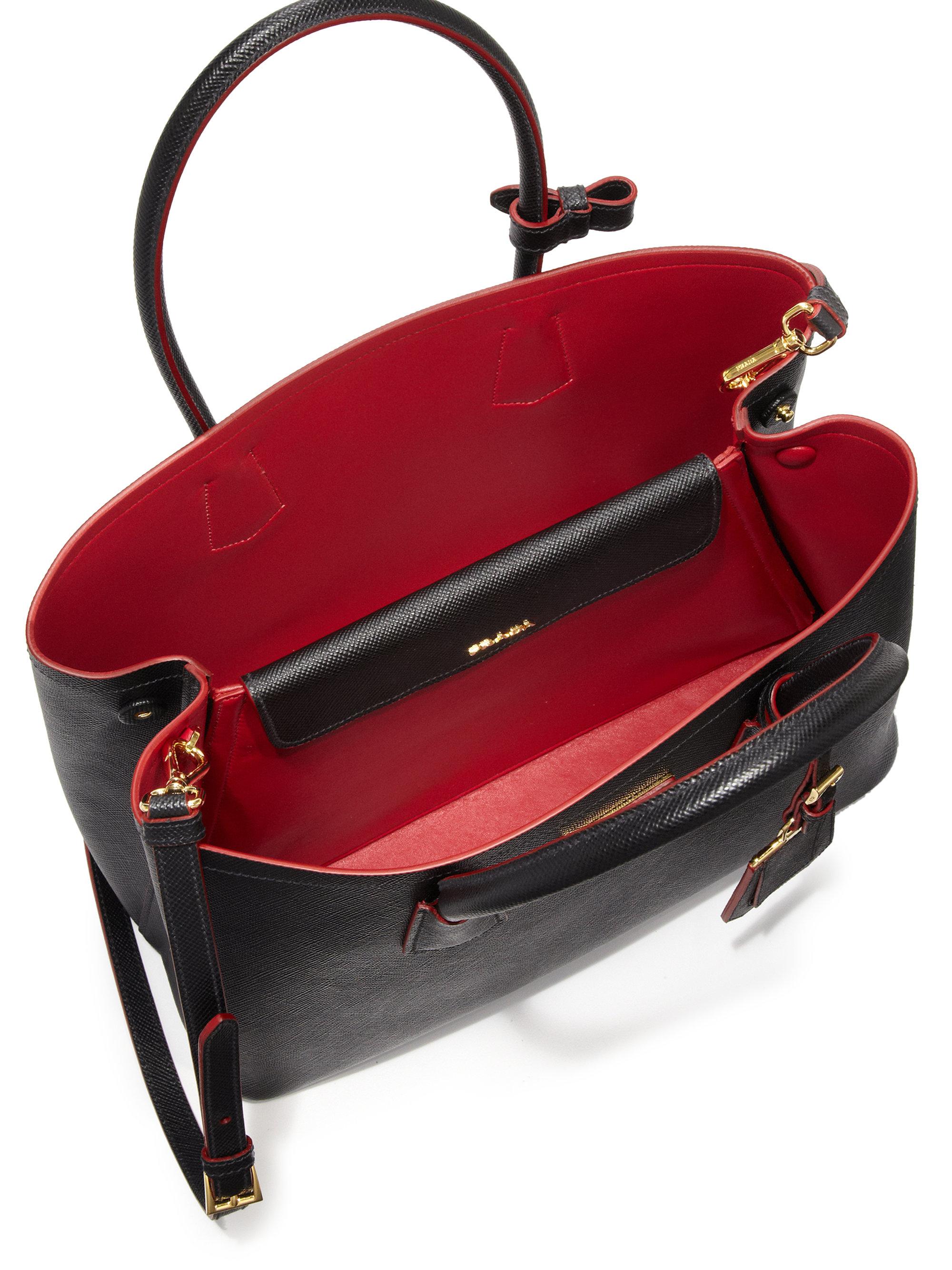 Prada Saffiano Cuir Medium Double Bag in Black | Lyst