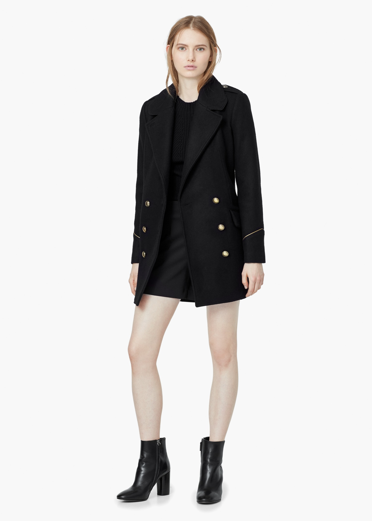 Mango Double-breasted Wool Coat in Black | Lyst