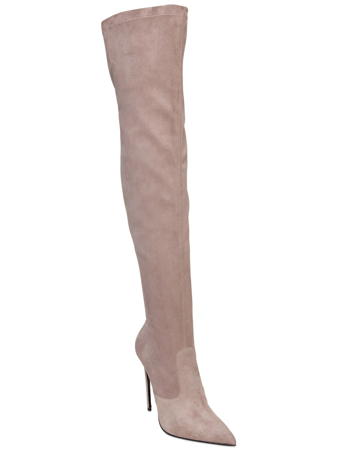 Le silla 110mm Stretch Suede Over The Knee Boots in Natural | Lyst