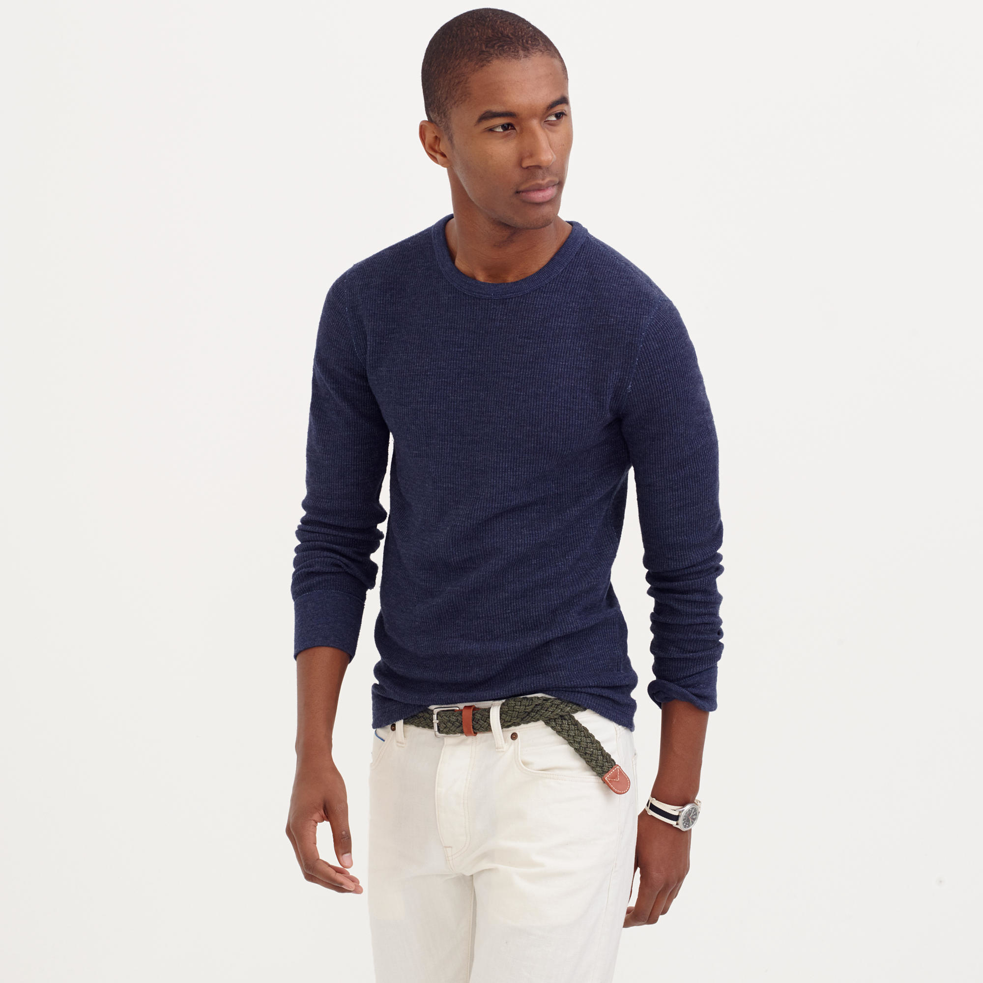 Lyst j crew slim long sleeve thermal t shirt in blue for men Thermal t shirt long sleeve