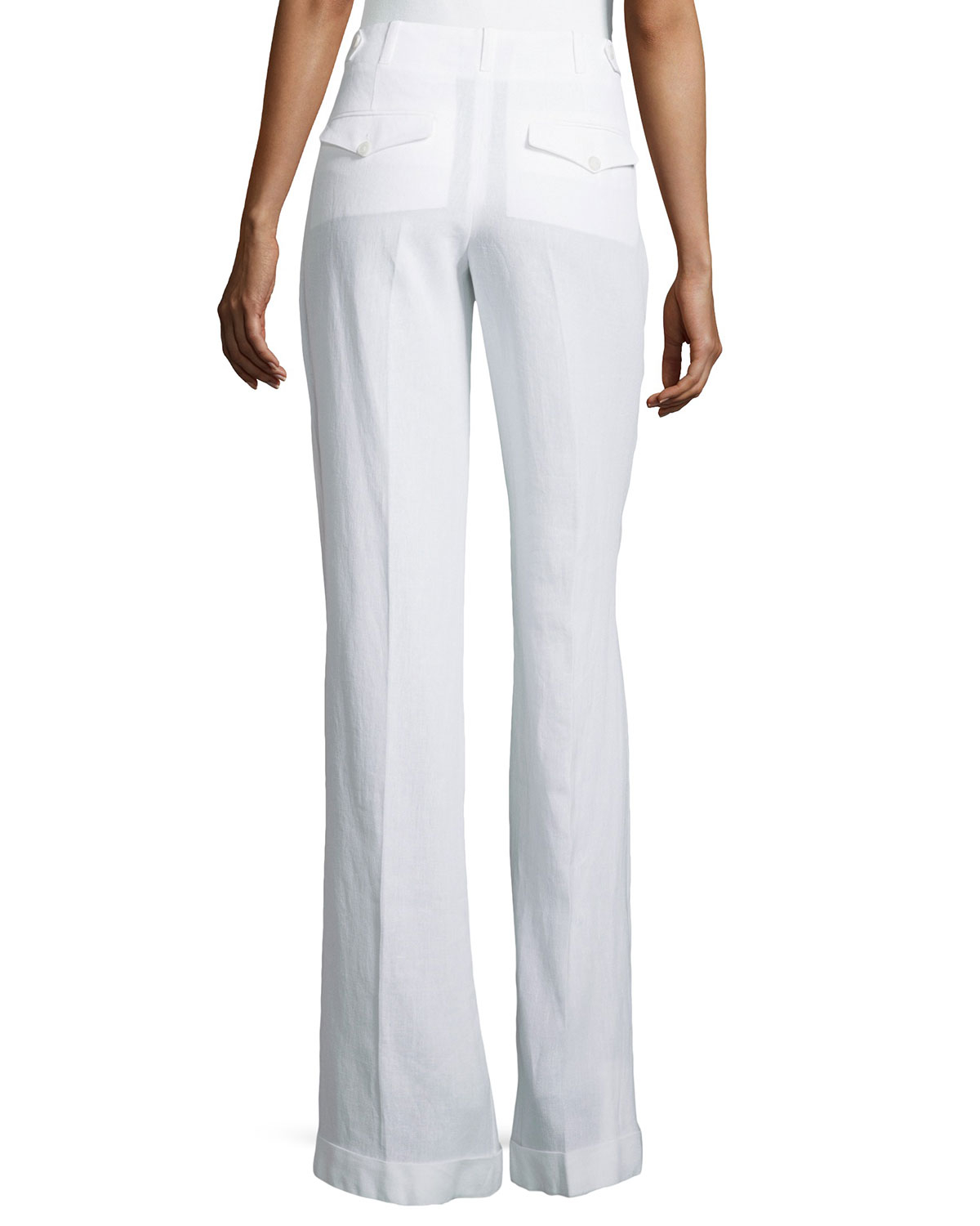 Michael kors Pleated & Cuffed Wide Leg Pants in White | Lyst