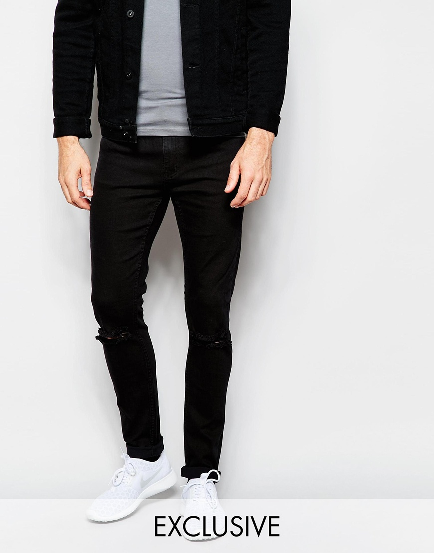 Cheap monday Jeans Tight Skinny Fit New Black Ripped Knee in Black