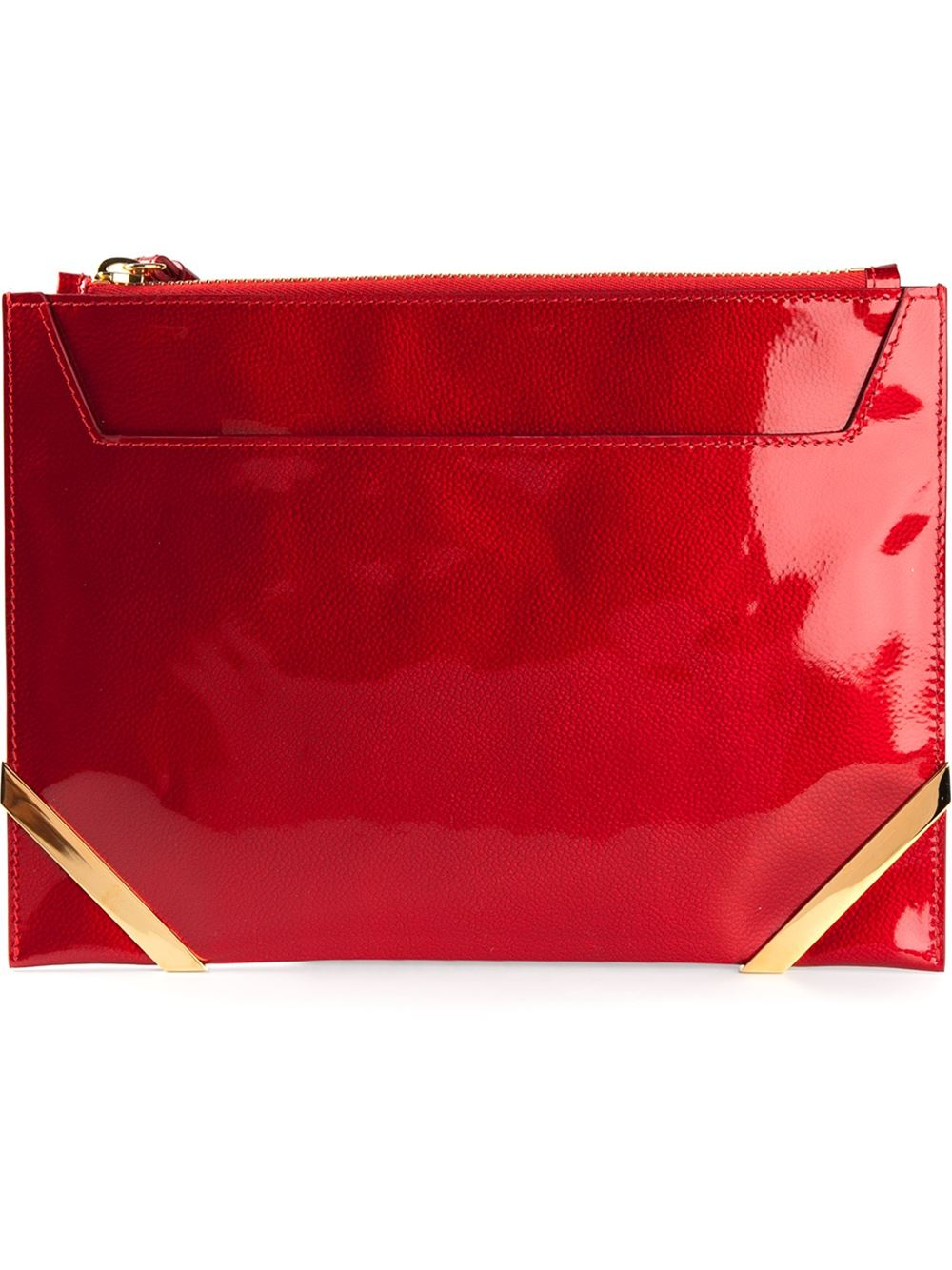 Lyst Pollini Patent Leather Clutch Bag In Red