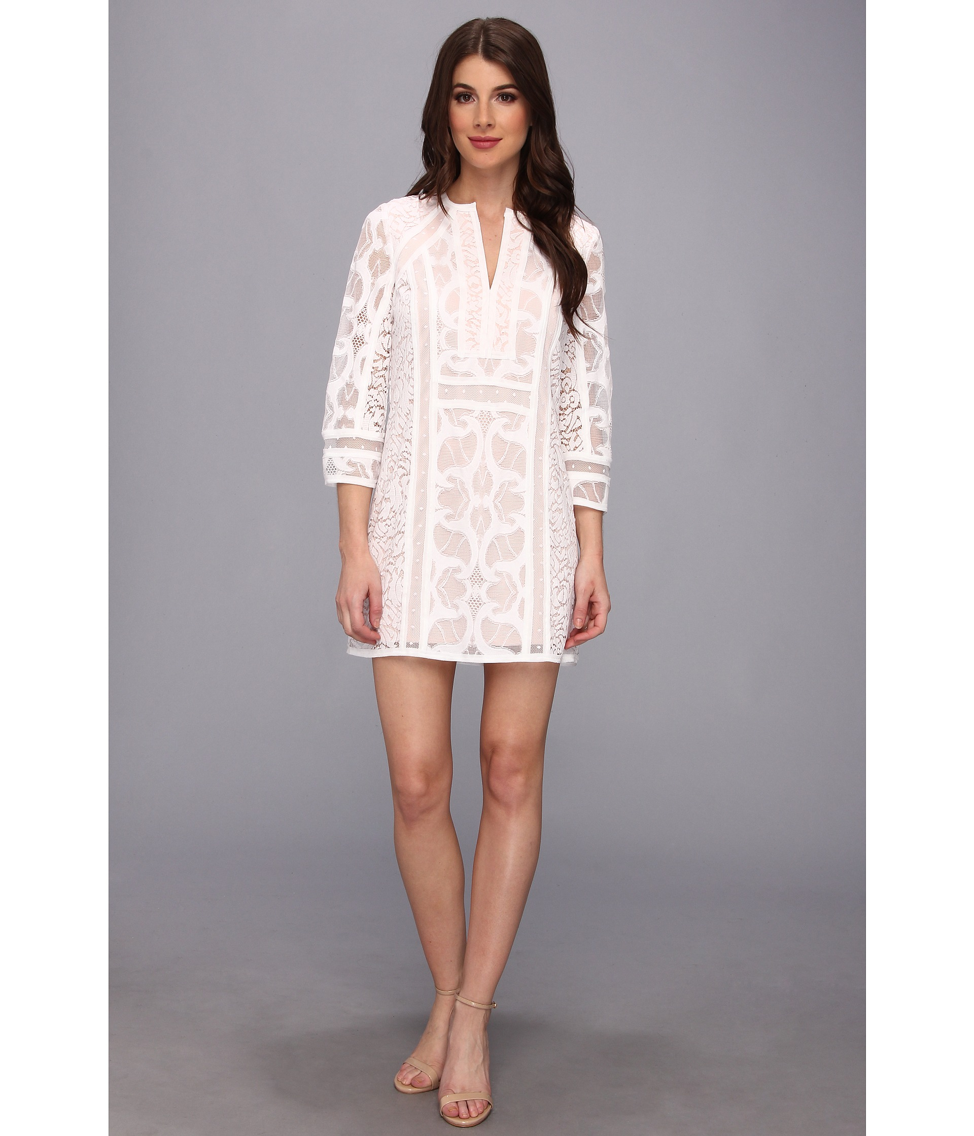 Bcbgmaxazria Nikki Lace Sheath Dress in White | Lyst