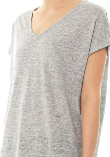 Vince Vneck Linen Tshirt In Gray For Men Grey Lyst