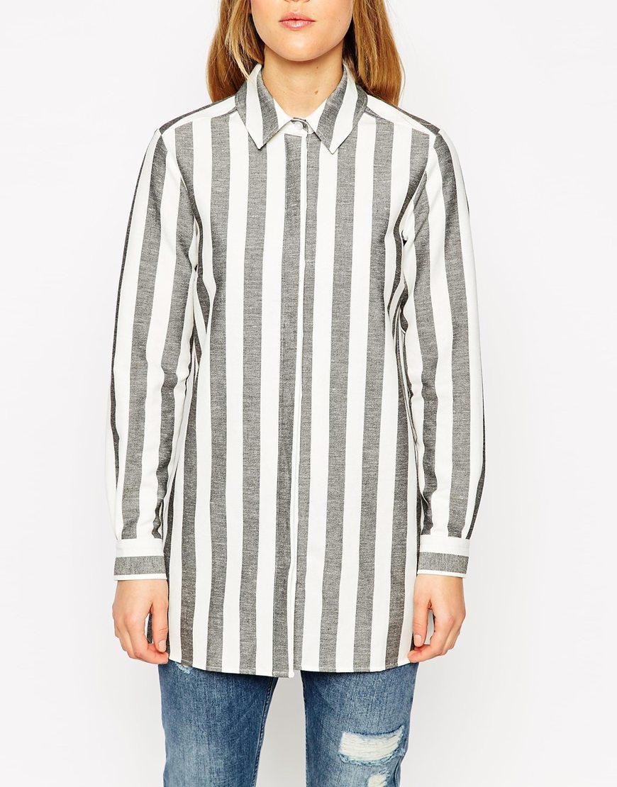 Lyst Asos Black And White Stripe Boyfriend Shirt In Gray