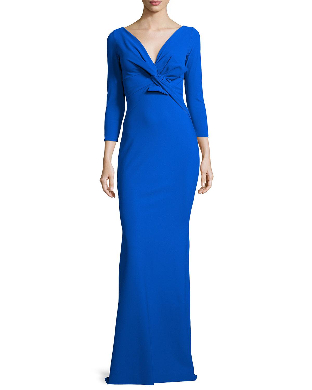 lyst la petite robe di chiara boni ilenia 3 4 sleeve twist front long gown in blue. Black Bedroom Furniture Sets. Home Design Ideas
