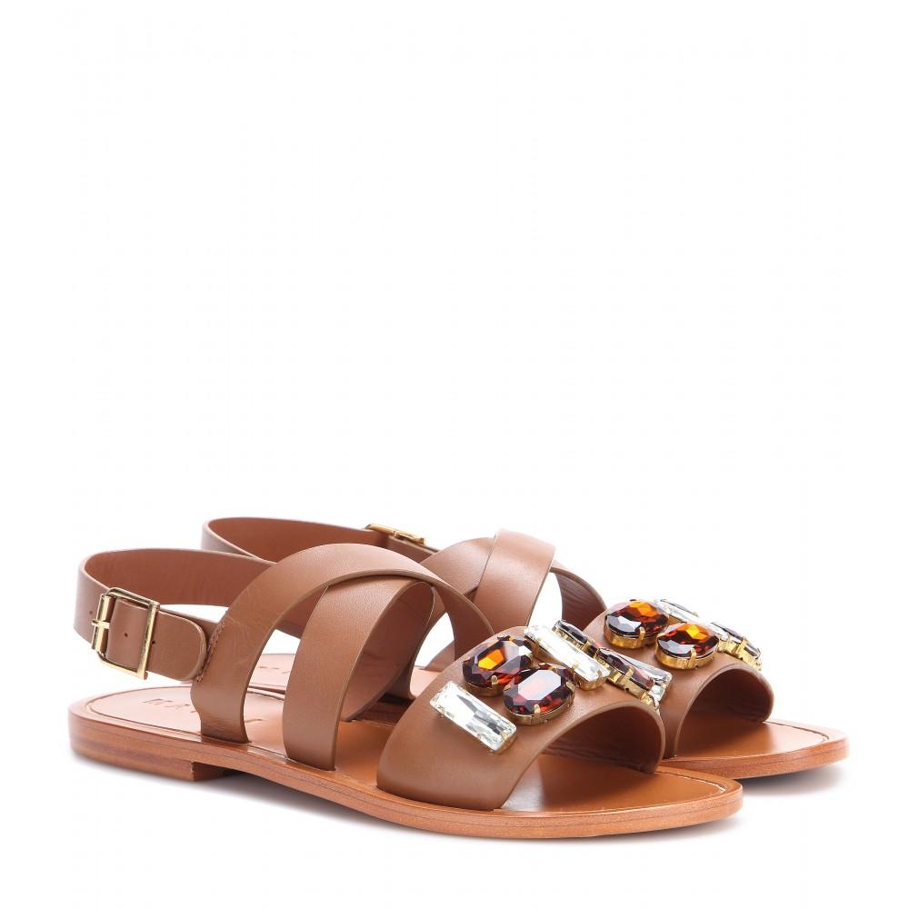 Embellished leather slides Marni FcbJj6CU2S