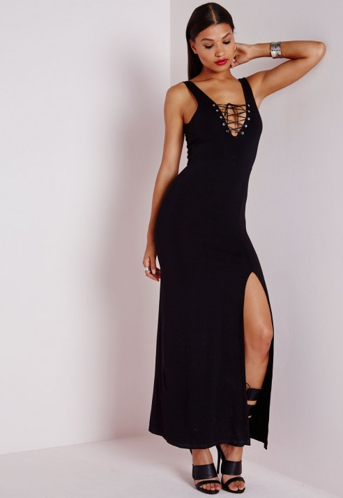 Missguided Lace Up Bodycon Maxi Dress Black in Black | Lyst