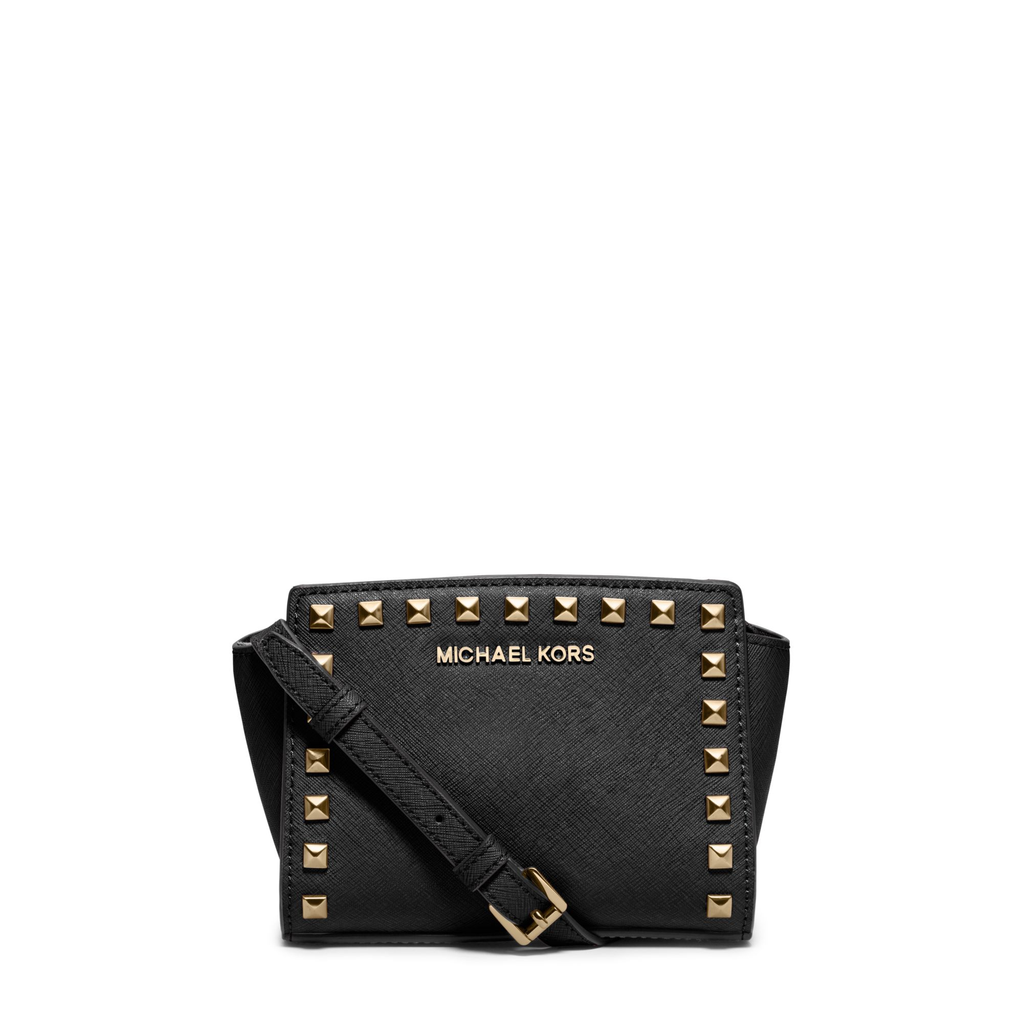 lyst michael kors selma mini studded leather crossbody in black rh lyst com