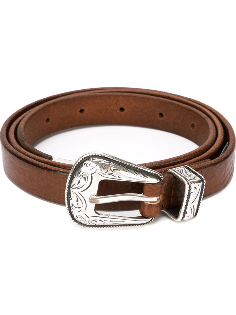 eleventy buckle belt in brown for lyst