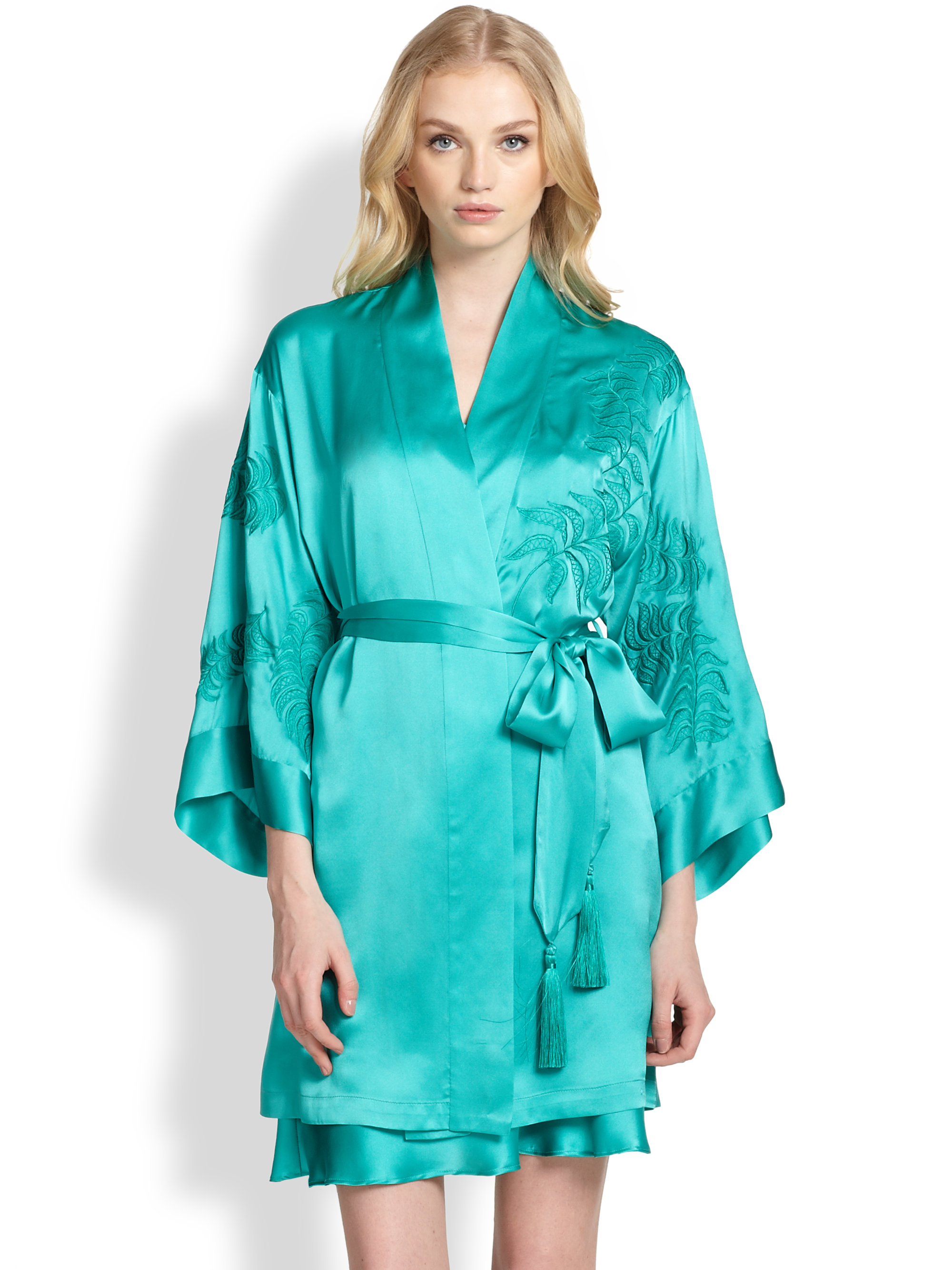 Josie Natori Embroidered Satin Kimono Robe In Blue